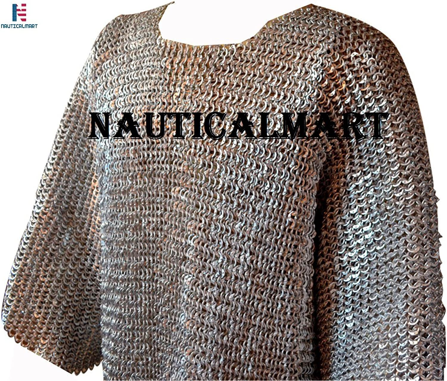 NAUTICALMART Men's Long Sleeve Flat Dome Riveted Aluminum Maille Chest 56 Large Anodized