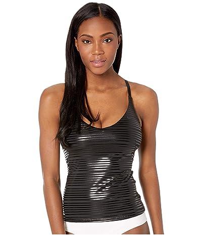 Nike 6:1 Shine Stripe Cross-Back Tankini (Black) Women