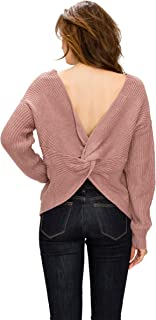 Women's Lace up Sexy Casual V Neck Criss Cross Backless Long Batwing Sleeve Loose Knitted Sweater Pullovers