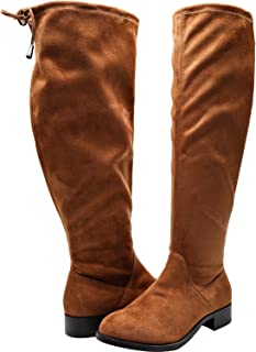 295c8a817358b Women s Wide Width Over The Knee Boots - Stretchy Low Stacked Heel Vegan  Suede Pull on