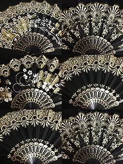 Set of 12 Spanish-Style-Black-Dance-Party-Wedding-Lace-Gold-Flower-Folding-Hand-fan 12x-Spanish-Style-Black-Dance-Party-Wedding-Lace-Gold-Flower-Folding-Hand-fan