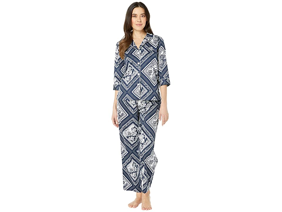 LAUREN Ralph Lauren Petite 3/4 Sleeve Pointed Notch Collar Pajama Set (Navy Scarf Print) Women