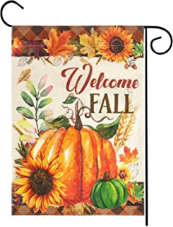 """Best Welcome Fall Garden Flag, Double Sided Autumn Pumpkins House Fall Flag Sunflowers Banners with Fall Leaves for Outside Farmhouse Garden Yard Pumpkin Decor Thanksgiving Decorations (12.5"""" x 18"""") Review"""