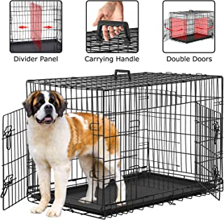BestPet Dog Crate for Large Medium Dogs Dog Cage Kennel 48/42Inches Pet Playpen Folding Indoor Outdoor Double Door Travel Metal Dog Pen with Plastic Tray