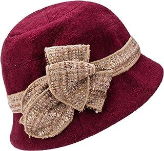 Lawliet Womens 1920s Gatsby Wool Flower Band Beret Beanie Cloche Bucket Hat A374