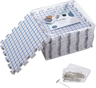 KnitIQ Blocking Mats for Knitting - Extra Thick Blocking Boards with Grids with 100 T-pins and Storage Bag for Needlework or Crochet - Pack of 9
