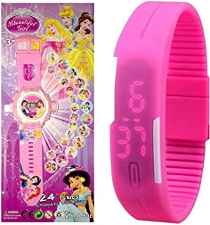 Pappi Boss Beautiful Girl - Kids Special Toys - Pack of 2 - Girl Projector Band Watch for Girls + Jelly Slim Pink Digital Led Band Wrist Watch for Girls, Kids, Children