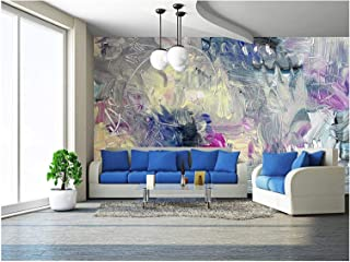 wall26 - Abstract Painting - Mixed Media Grunge - Removable Wall Mural   Self-Adhesive Large Wallpaper - 100x144 inches