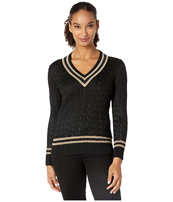 Ladies' Colorful 1920s Sweaters and Cardigans History LAUREN Ralph Lauren Metallic Cricket Sweater Polo BlackGold Womens Clothing $112.50 AT vintagedancer.com