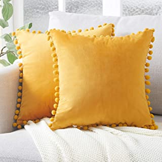 Best Top Finel Decorative Throw Pillow Covers with Pom Poms Soft Particles Velvet Solid Cushion Covers 18 X 18 for Couch Bedroom Car, Pack of 2, Mustard Yellow Review
