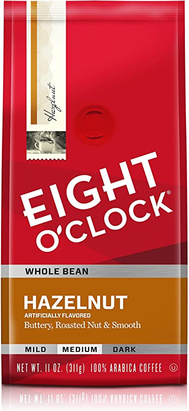 Eight O Clock Whole Bean Coffee Hazelnut 11 Ounce Pack Of 6