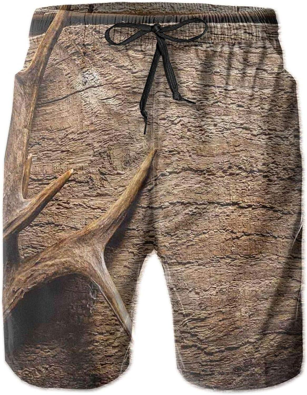 Deer Antlers On Wood Table Rustic Texture Surface Hunting Season Fall Gathering Art Drawstring Waist Beach Shorts for Men Swim Trucks Board Shorts with Mesh Lining,L