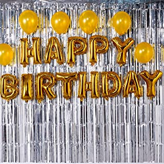 Happy Birthday Balloons Aluminum Foil Banner for Birthday Party Decorations and Supplies -Gold