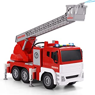 "JOYIN 12.5"" Fire Truck Toy Jumbo Friction Powered Fire Engine Truck with Lights and Sounds / Sirens, Rescue Boom, and Water Pump Hose to Shoot Water Long 1:12"