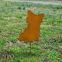 Yorkshire sitting metal stake - Metal Yorkie outdoor stake - Flowerbed Yorkie marker - Rusty Yorkie memorial - outdoor living art