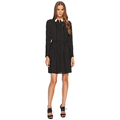 The Kooples Shirt-Style Dress with Lace Stripe on the Sleeves (Black) Women
