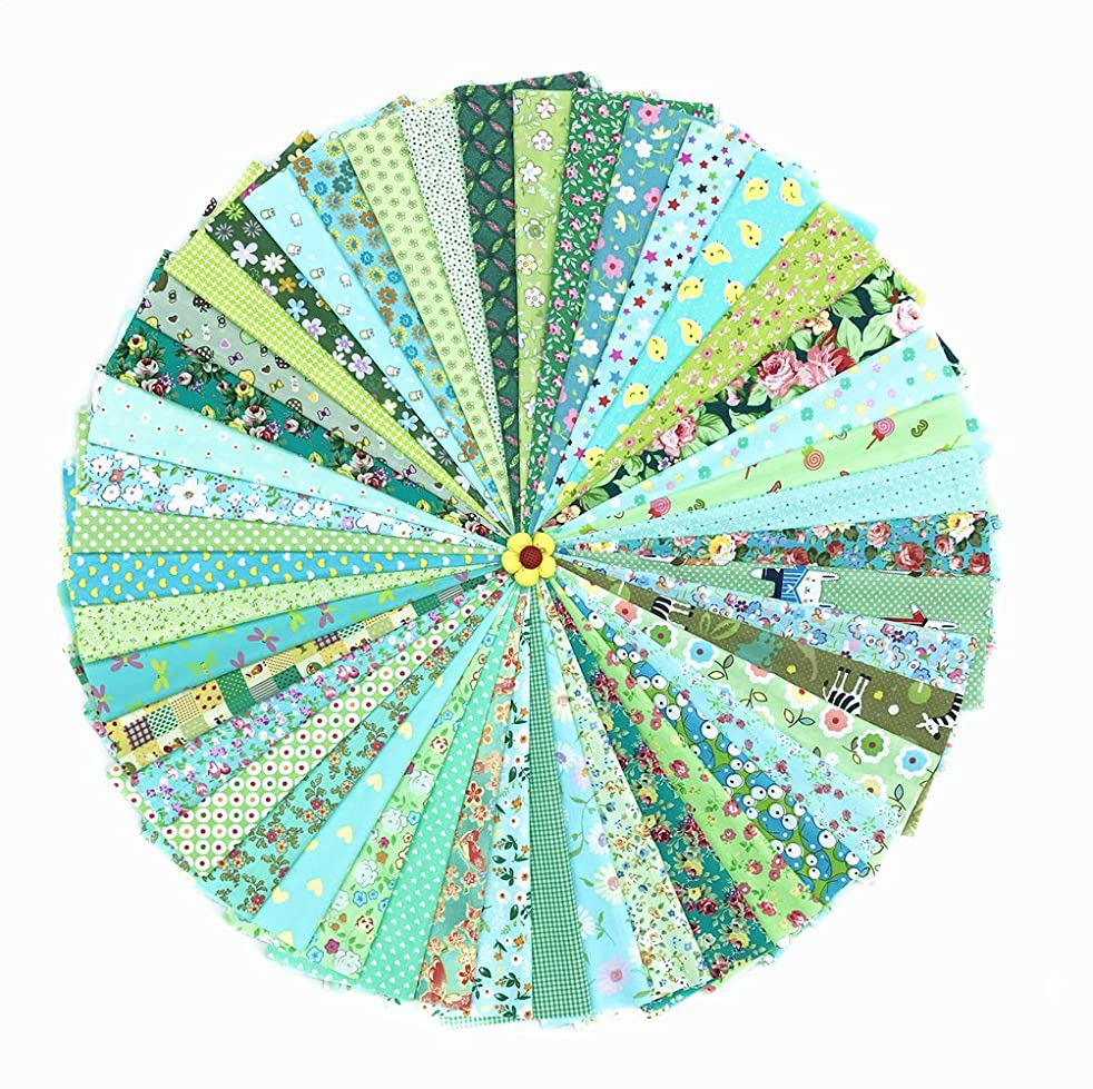 RayLineDo 2030cm Assorted Pre-Cut Printing Cotton Cloth Material Mixed Squares Bundle Quilt Fabric Patchwork for DIY Handmade Craft, Green Color Series Customizable