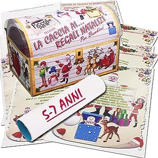 Caccia al tesoro natalizia in scatola per casa 5-7 anni - Giochi natalizi per bambini - Caccia al regalo di Babbo Natale -...