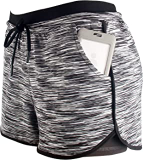 RIBOOM Women Workout Running Shorts 2 in 1 Active Yoga Gym Sport Shorts with Pockets