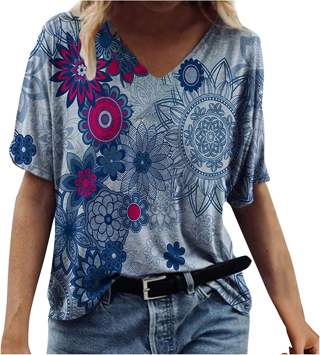 Tops for Women Casual Summer 3/4 Sleeve,Women's V Neck Summer Causal Short Sleeve Tops Loose Soft Floral Printed Tshirts Tunic Blouse Tops Tee Shirts Blue