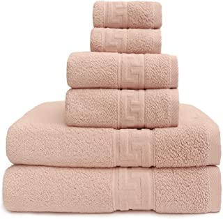 Cognatio 6 Piece Towel Set, 2 Bath Towels, 2 Hand Towels, and 2 Washcloths, 100% Cotton Highly Absorbent Towels for Bathro...