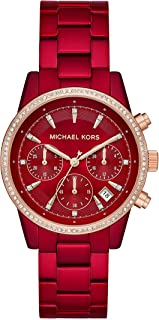 Michael Kors Womens Ritz Quartz Watch with Stainless-Steel-Plated Strap, red,