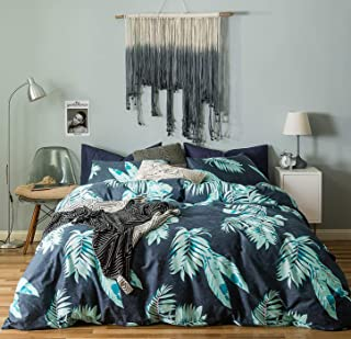 SUSYBAO 3 Pieces Duvet Cover Set 100% Natural Cotton Queen Size Navy Blue and Green Tropical Leaves Botanical Bedding with Zipper Ties 1 Duvet Cover 2 Pillowcases Luxury Quality Soft Breathable Comfy