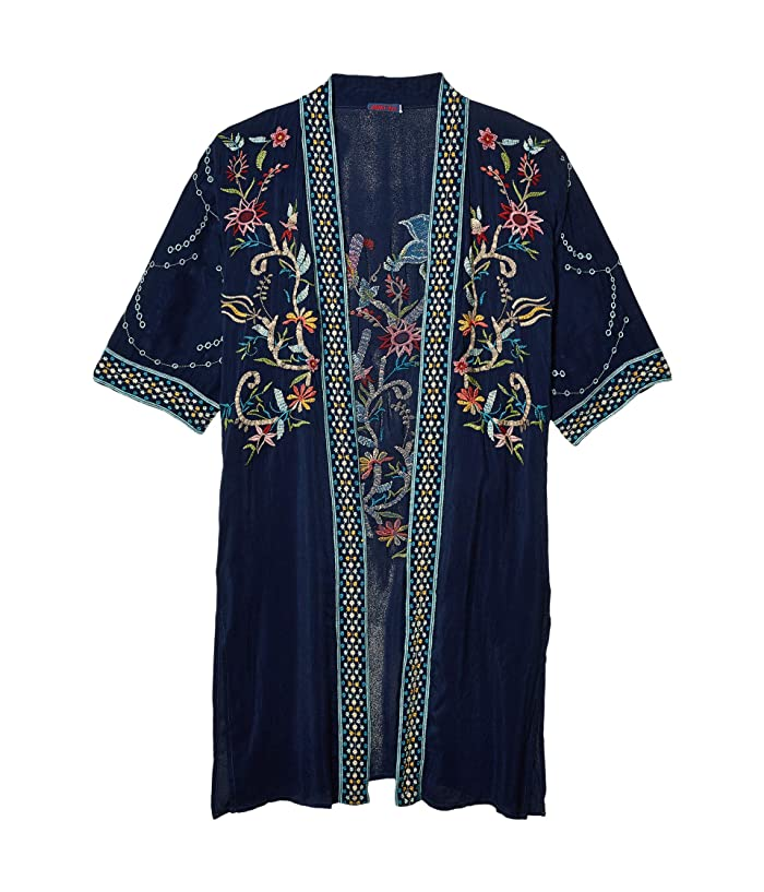 1920s Shawls, Scarves and Evening Jacket Tips Johnny Was Summer Kimono Blue Night Womens Clothing $266.96 AT vintagedancer.com
