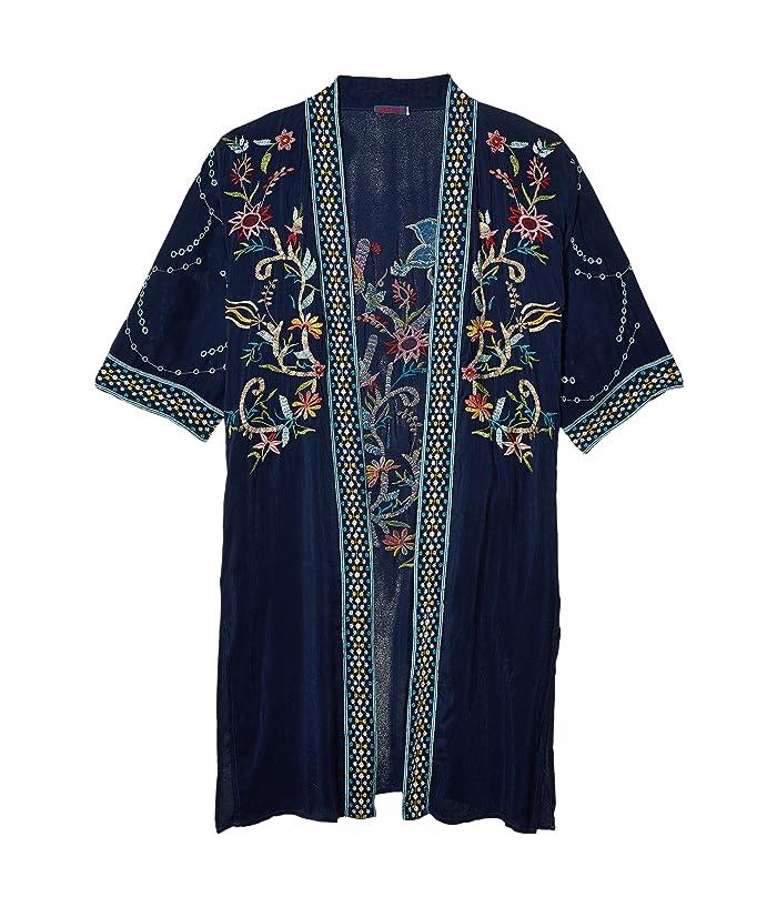 Shawls & Wraps | Fur Stole, Lace, Fringe Johnny Was Summer Kimono Blue Night Womens Clothing $266.96 AT vintagedancer.com