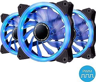 EZDIY-FAB Ventilador de Anillo de 120mm PWM LED,Ventilador de Caja PWM LED,Enfriador de CPU y Radiadores,Azul 4-Pin 3 Pack