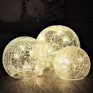 Gadgy ® Luces Bolas de Cristal Craquelado | Ø 8, 10,12 cm | Lamparas Decorativas de Interior | Guirnalda Luz LED Cálida | ...
