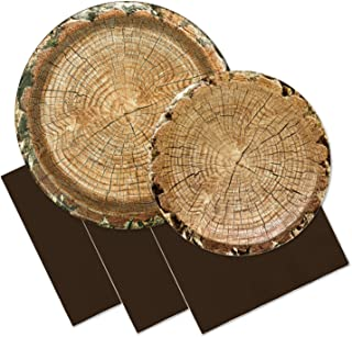Rustic Woodland Party Supplies Set - Timber Cut Themed Paper Plates, Napking (Serves 16)
