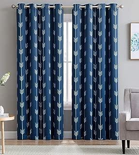 HLC.ME Arrow Printed Blackout Room Darkening Thermal Grommet Window Curtain Drape Panels for Living Room - Set of 2 - Navy Blue - 63