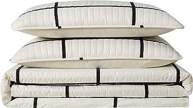 Truly Soft Everyday Kurt Black and White Stripe Quilt, Full/Queen, Windowpane