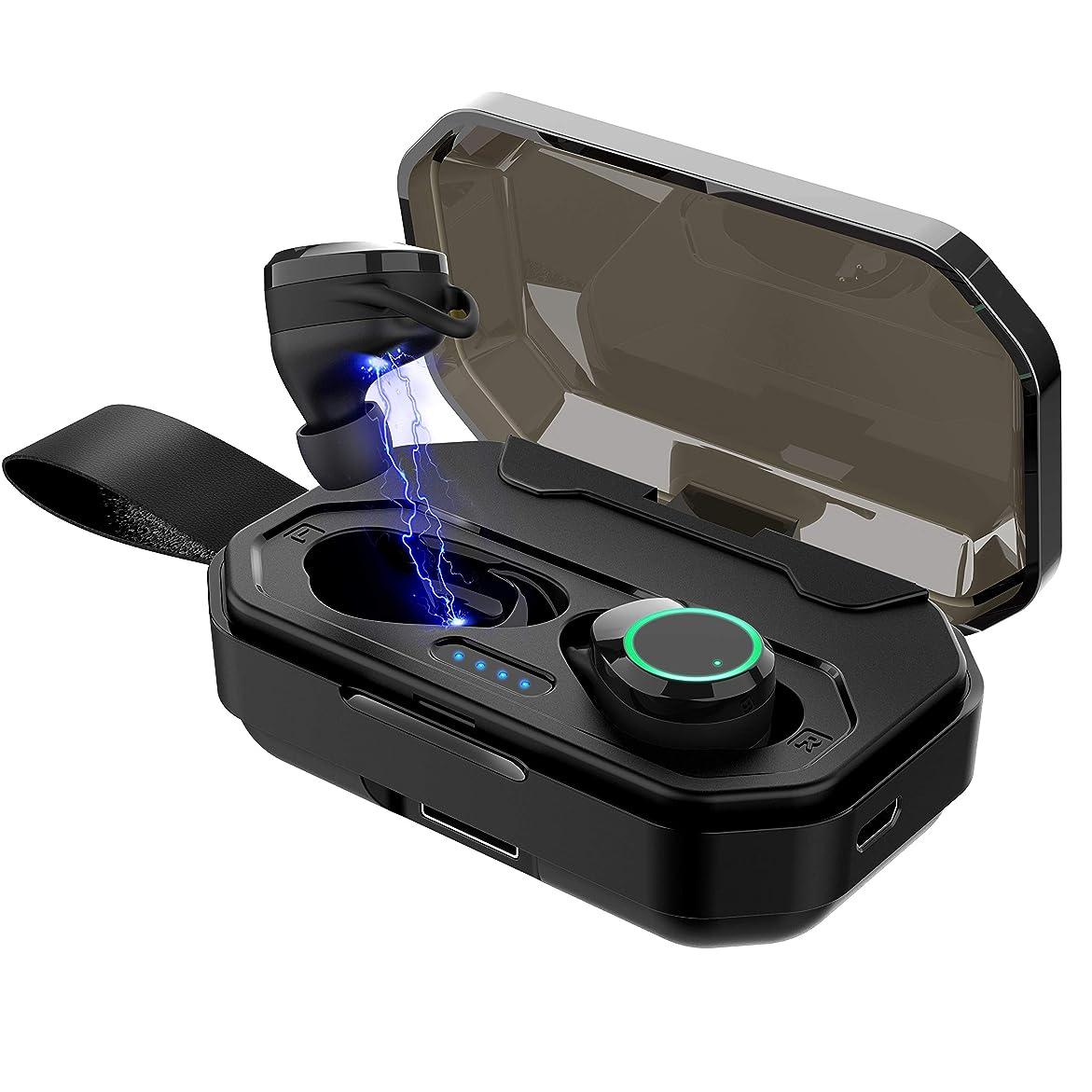 ヘルパー手首主要な【最新Bluetooth5.0】ブルートゥース ワイヤレスイヤホン 高音質 カナル型 左右分離型 5時間連続再生 IPX7完全防水 タッチセンサー操作 音漏れ防止 iPhone/iPad/Android対応