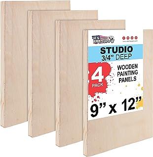 "U.S. Art Supply 9"" x 12"" Birch Wood Paint Pouring Panel Boards, Studio 3/4"" Deep Cradle (Pack of 4) - Artist Wooden Wall C..."