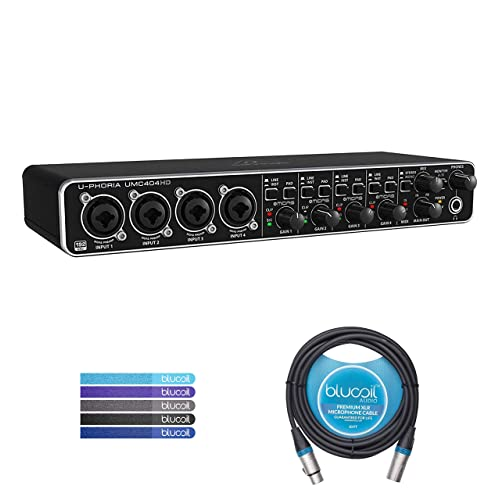 Behringer U-PHORIA UMC404HD USB 2.0 Audio/MIDI Interface Bundle with Blucoil Audio 10