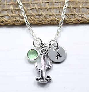 a65385f127a1 Cactus Necklace - Cute Small Silver Cactus Jewelry for Women and Girls -  Cactus Themed Birthday