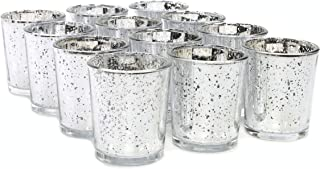Hosley Set of 12 Metallic Silver Votive Tea Light Glass Candle Holders. Ideal for Parties Wedding Special Events Aromatherapy and Everyday Use. W5