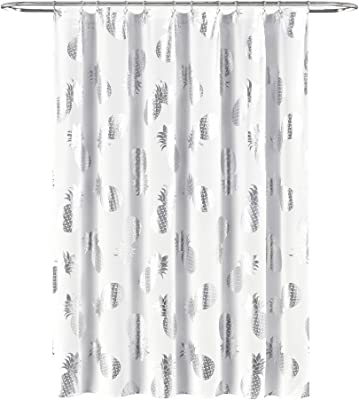 "Lush Decor Pineapple Toss Shower Curtain - Fabric Metallic Print Design, 72"" x 72"", Silver and White (16T004356)"