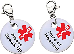 Please Speak Up and Hard of Hearing Medical ID Bracelet Charm-Parent (Stainless Steel),XX19