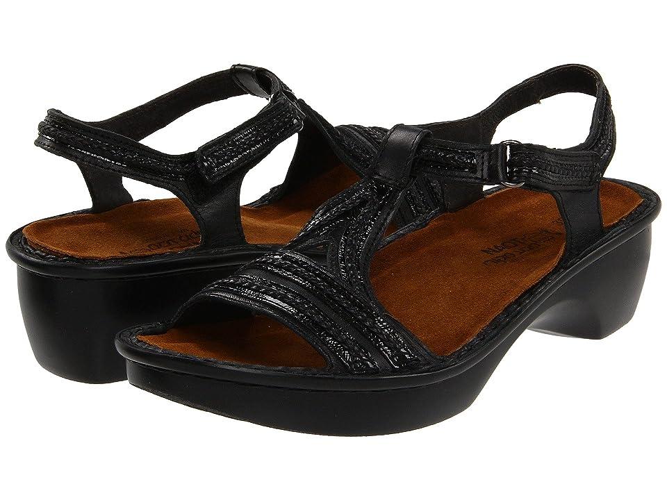 Naot Nara (Black Raven Leather/Black Patent Leather) Women