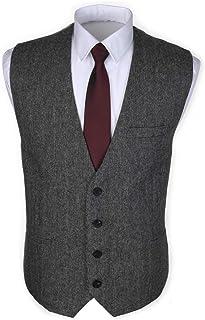 Ruth&Boaz 3Pockets 4Buttons Wool Herringbone/Tweed Tailored Collar Suit Waistcoat