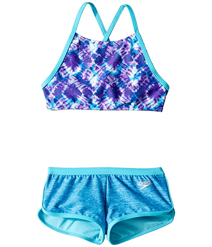 ce0f8d4b54 Speedo Kids High Neck Camikini Boyshorts Two-Piece Set (Big Kids) at ...