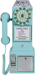 Crosley CR56-AB 1950's Payphone with Push Button Technology, Aqua Blue