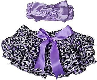 Baby Leopard Satin Ruffled Bloomers & Ribbon Headband