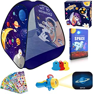 MITCIEN Kids Spaceship Play Tent Outer Space Themed Design & Flashlight Projector Toy &Jigsaw Puzzle Book & Pop Stickers f...