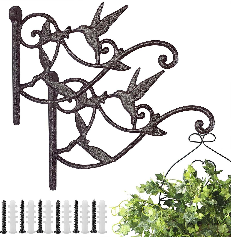 Livfodrm Plant Hangers Outdoor Plant Hooks for Wall/Fence, Hummingbird Hanging Plant Bracket Heavy Duty Cast Iron Plant Hanger for Lantern/Bird Feeder, 2 Pack