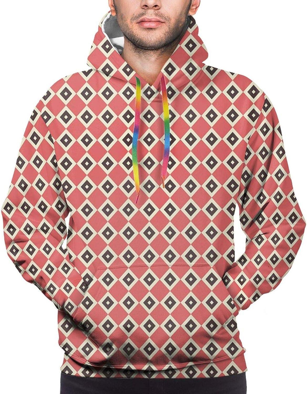 Men's Hoodies Sweatshirts,Diagonal Stripes Crosswise with Floral and Geometric European Motifs