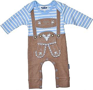 Eisenherz Baby Strampler Langarm Lederhose mit Hosenträgerapplikation in verschiedenen Größen - fescher Trachtenlook